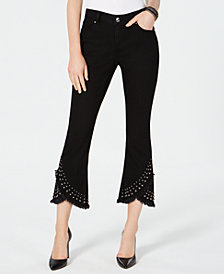 I.N.C. Cropped Studded Tulip-Hem Jeans, Created for Macy's