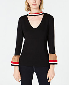 I.N.C. Varsity-Stripe Choker Sweater, Created for Macy's