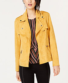 I.N.C. Petite Faux Suede Moto Jacket, Created for Macy's