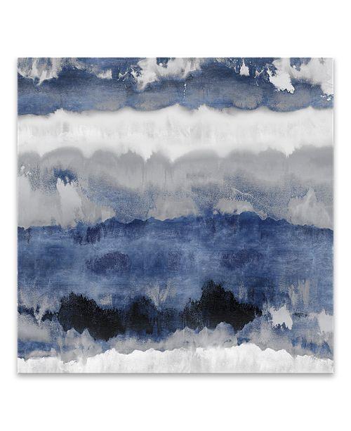 "Artissimo Designs Indigo Gradations Hand Embellished Canvas Art - 30"" W x 30"" H x 1.25"" D"