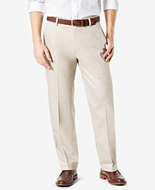 Men's Signature Lux Cotton Relaxed Fit Creased Stretch Khaki Pants
