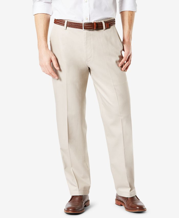 Dockers - Men's Signature Relaxed-Fit Flat-Front Creased Khaki Pants