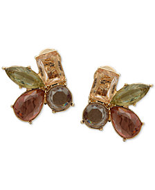 Anne Klein Gold-Tone Stone Cluster Clip-On Stud Earrings