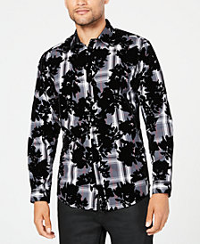 I.N.C. Men's Flocked Plaid Shirt, Created for Macy's