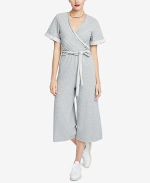 RACHEL RACHEL ROY Madeline Cotton-Blend Faux-Wrap Belted Jumpsuit in Gray