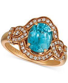 Le Vian® Blue Zircon (1-9/10 ct. t.w.) & Diamond (3/4 ct.t.w.) Ring in 14k Rose Gold