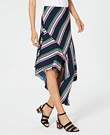 Bar III Striped Asymmetrical Skirt, Created for Macy's