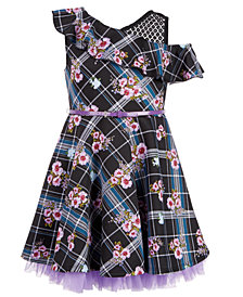 Beautees Big Girls Plus 2-Pc. Floral-Print Plaid Skater Dress & Bow Set