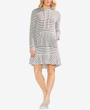Striped Pique Hoodie Dress, Rich Black