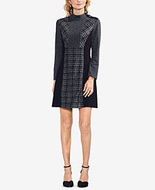 Vince Camuto Mixed-Media A-Line Dress