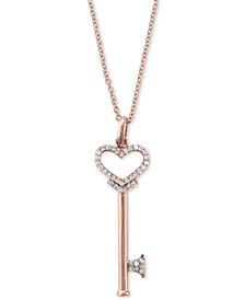 Pave Rose by EFFY Diamond Diamond Heart Key Pendant (1/5 ct. t.w.) in 14k Rose Gold