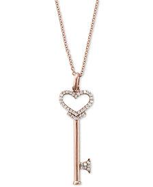 Pave Rose by EFFY Diamond Diamond Heart Key Pendant (1/5 ct. t.w.) in 14k Rose Gold