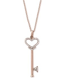 Pave Rose by EFFY® Diamond Diamond Heart Key Pendant (1/5 ct. t.w.) in 14k Rose Gold
