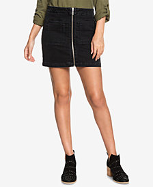 Roxy Juniors' Street Direction Zip-Front Denim Skirt