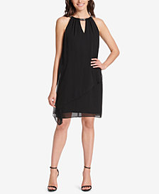 Jessica Howard Petite Chiffon Rhinestone-Embellished Dress