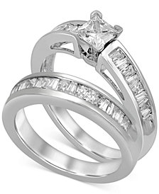 Diamond Princess & Baguette Bridal Set (1 ct. t.w.) in 14k White Gold