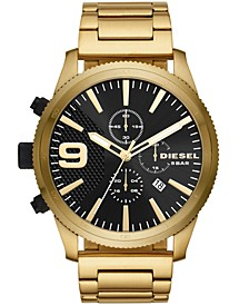 Men's Chronograph Rasp Chrono Gold-Tone Stainless Steel Bracelet Watch 51mm