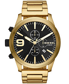 Diesel Men's Chronograph Rasp Chrono Gold-Tone Stainless Steel Bracelet Watch 51mm