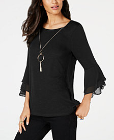 Thalia Sodi Bell-Sleeve Attached-Necklace Top, Created for Macy's