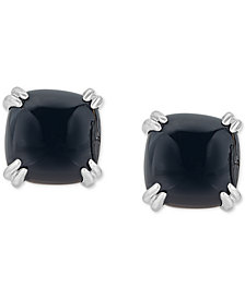 Onyx (10mm) Curved Claw Stud Earrings in Sterling Silver