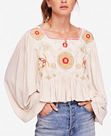 Free People Claudine Embroidered Peasant Top