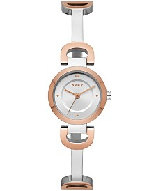 DKNY Women's City Link Two-Tone Stainless Steel Half-Bangle Bracelet Watch 24mm, Created for Macy's