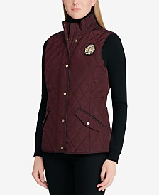 Lauren Ralph Lauren Faux-Leather-Trim Quilted Vest