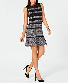 MICHAEL Michael Kors Paneled Houndstooth Dress, In Regular & Petites