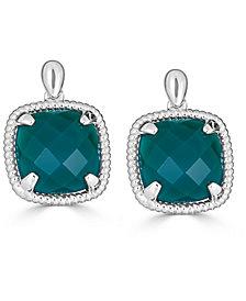 Green Agate Twist Drop Earrings in Sterling Silver