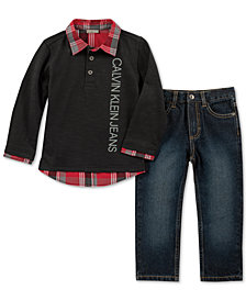 Calvin Klein Little Boys 2-Pc. Faux-Layer Cotton Shirt & Jeans Set