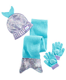 Accessory Innovations Little & Big Girls 3-Pc. Mermaid Hat, Scarf & Gloves Set