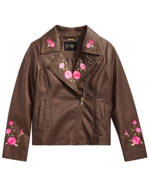 Jessica Simpson Big Girls Embroidered FauxLeather Moto Jacket
