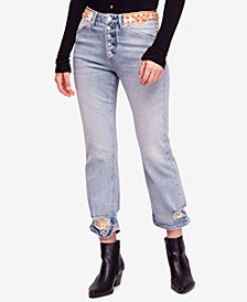 Free People Ripped Embellished Button-Fly Jeans
