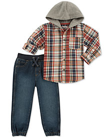 Kids Headquarters Little Boys 2-Pc. Hooded Plaid Shirt & Denim Jogger Pants Set
