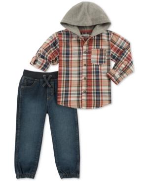 Kids Headquarters Toddler Boys 2Pc Plaid Hooded Shirt  Denim Jogger Pants Set