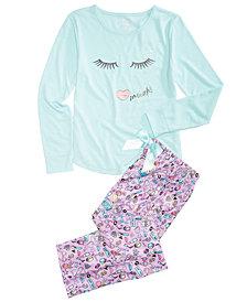 Max & Olivia Little & Big Girls 2-Pc. GLAM Graphic Pajamas Set