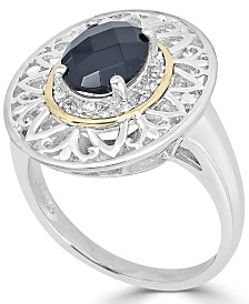Onyx (14 x 10mm) & Diamond Accent Statement Ring in Sterling Silver & 14k Gold
