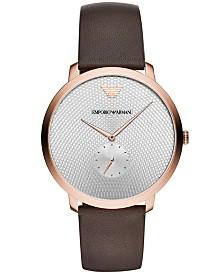 Emporio Armani Men's Brown Leather Strap Watch 42mm