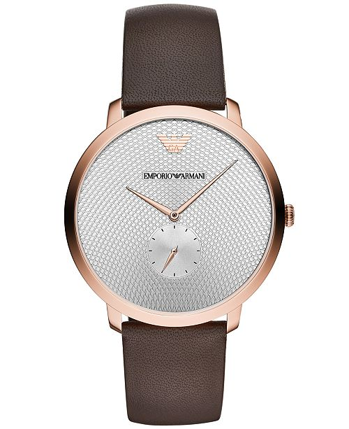 Emporio Armani Men's Brown Leather Strap Watch 42mm