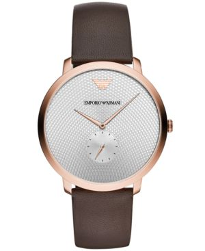 Textured Silver-Tone Dial Watch, 42Mm in Brown