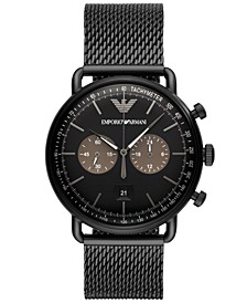 Men's Chronograph Black Stainless Steel Mesh Bracelet Watch 43mm