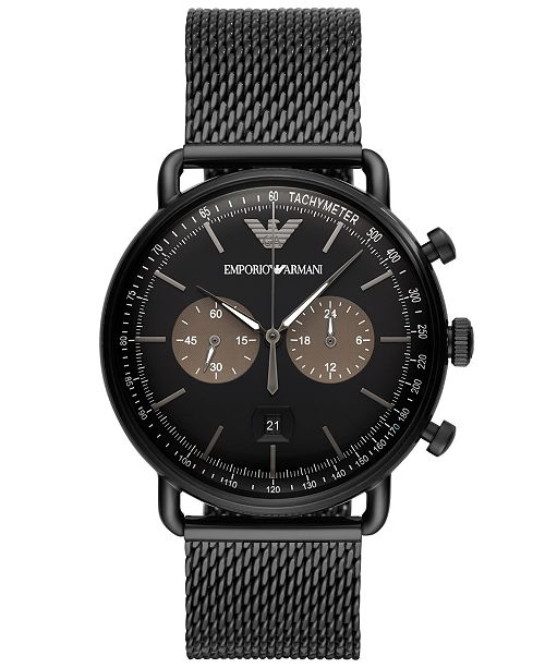 660824310 ... Emporio Armani Men's Chronograph Black Stainless Steel Mesh Bracelet  Watch ...