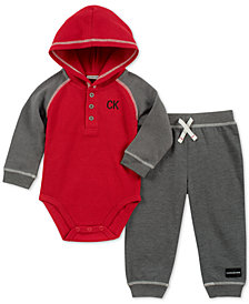 Calvin Klein 2-Pc. Baby Boys Hooded Thermal Bodysuit & Fleece Jogger Pants Set