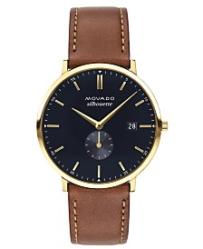 LIMITED EDITION Movado  Men's Swiss Heritage Series Calendoplan Brown Leather Strap Watch 40mm, Created for Macy's - A Limited Edition