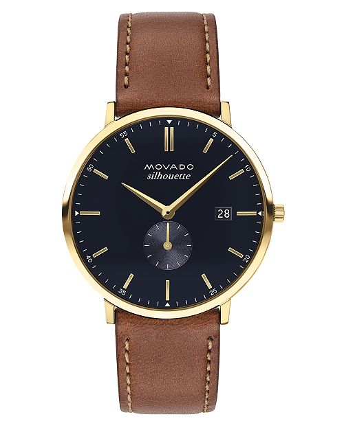 Movado LIMITED EDITION  Men's Swiss Heritage Series Calendoplan Brown Leather Strap Watch 40mm, Created for Macy's - A Limited Edition