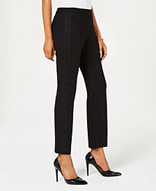 Alfani Petite Tummy-Control Lace-Trim Pants, Created for Macy's