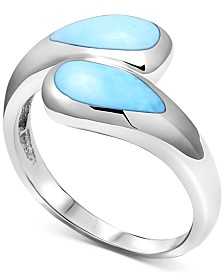 Marahlago Larimar Bypass Ring in Sterling Silver