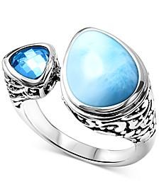 Larimar & Blue Topaz (3/4 ct. t.w.) Cuff Ring in Sterling Silver