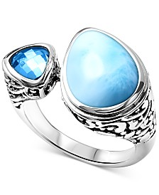 Marahlago Larimar & Blue Topaz (3/4 ct. t.w.) Cuff Ring in Sterling Silver