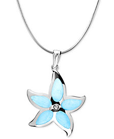 "Marahlago Larimar Starfish 21"" & White Topaz Accent Pendant Necklace in Sterling Silver"